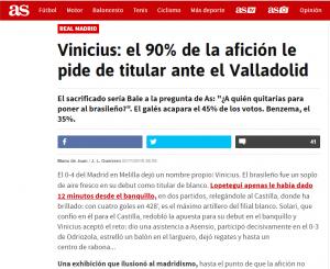 Vinicius: El 90% de la afición le pide de titular ante el Valladolid (AS.com)