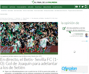 En directo, el minuto a minuto del Betis - Sevilla. FUENTE: AFDP