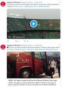 Tweets con noticias y mensajes previos al encuentro Betis - Sevilla. FUENTE: Orgullo de Nervión