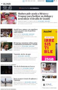 """Página sobre la """"Crisis política en Venezula"""". FUENTE: (El País)"""