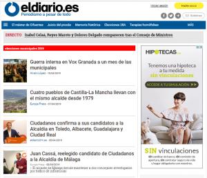 Página dedicada a las Elecciones Municipales. FUENTE: Eldiario.es