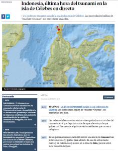 En directo, la última hora del tsunami en la isla indonesia de Célebes. FUENTE: La Vanguardia