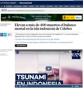 Noticia principal sobre las repercusiones del tsunami en la isla indonesia de Célebes. FUENTE: La Vanguardia