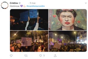 Cobertura de la manifestación feminista del 8-M por parte de Cristina, como muestra de usuario activo. (FUENTE: Facebook)