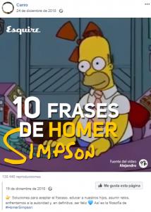 Vídeo de Homer Simpson compartido por Curro, como muestra de usuario socializador, (FUENTE: Facebook).