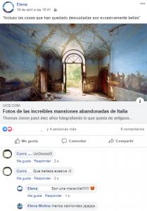 Respuestas de Curro a una publicación de Elena, como muestra de usuario socializador con conocidos. (FUENTE: Facebook).