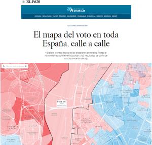 Imagen del mapa con el porcentaje de votos por distritos y secciones en España. (FOTO: El País).