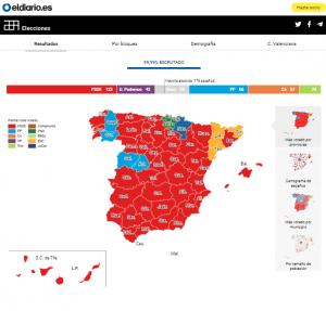 Imagen del mapa con los resultados electorales del pasado 28 de abril por provincias. (FOTO: Eldiario.es)