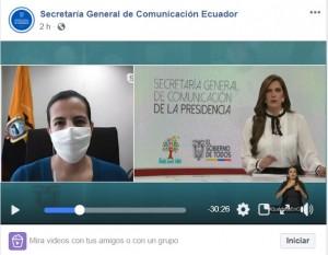 Fuente: Facebook - Secretaría General de Comunicación de Ecuador