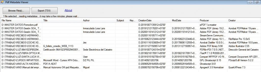 Extracción de metadatos con PdfMetadata
