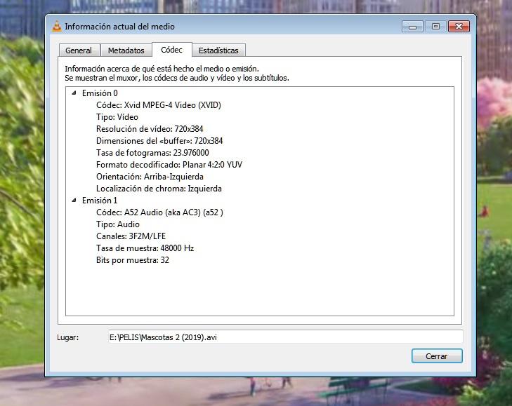 Extracción de metadatos con VLC