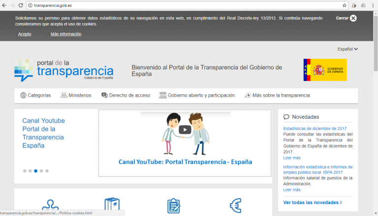 Página web del portal de Trasparencia del Gobierno de España