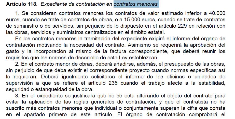 Extracto de la Ley de Contratos del Sector Público