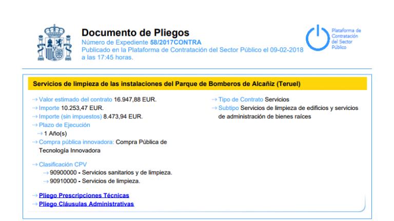 Ejemplo de un contrato extraído de la web de contrataciones del Estado