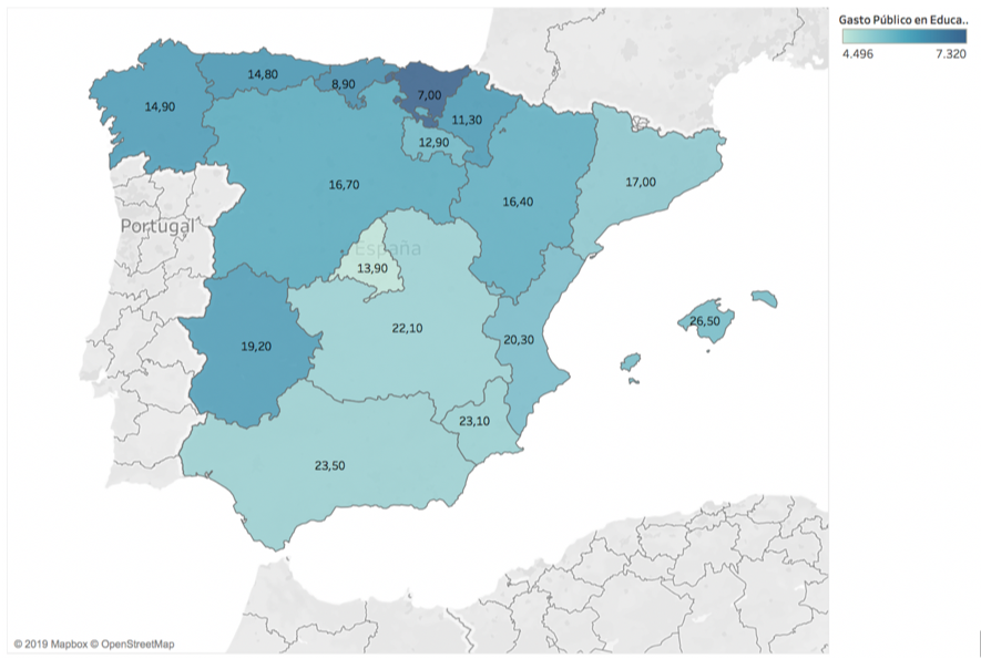 Figura 7. Gasto por alumno (€) y tasa de abandono educativo temprano en España por Comunidades Autónomas, 2017. (FUENTE: Fundación BBVA) (FOTO: Irene Iriarte)