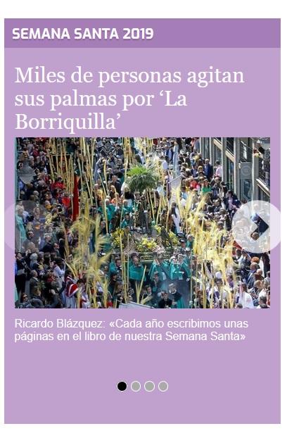 El Diario de Valladolid agrupa junto a su noticia principal el agrupador de noticias de Semana Santa