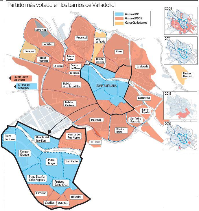 Resultados por distritos en Valladolid