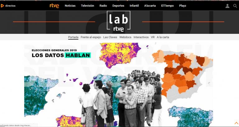 El aspecto de 'RTVE LAB' recuerda a un medio digital propio