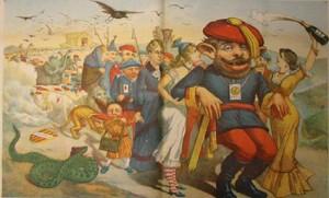 Caricatura de Carlos de Borbón flanqueado por dos mujeres en un país ingobernable