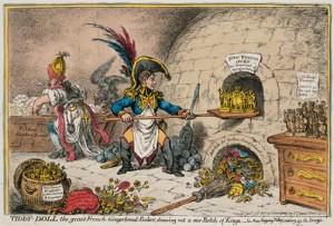 Caricatura inglesa en la que se ve a Napoleón fabricando reyes de marioneta