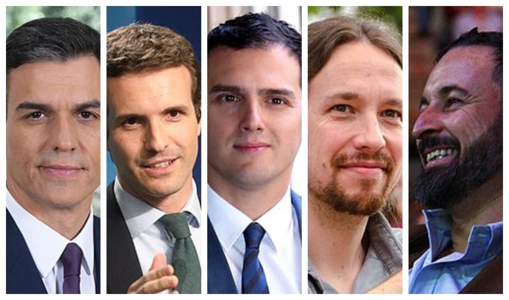 Los líderes de los cinco partidos en liza.
