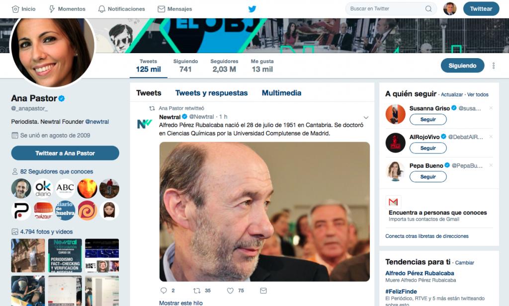 Twitter de Ana Pastor