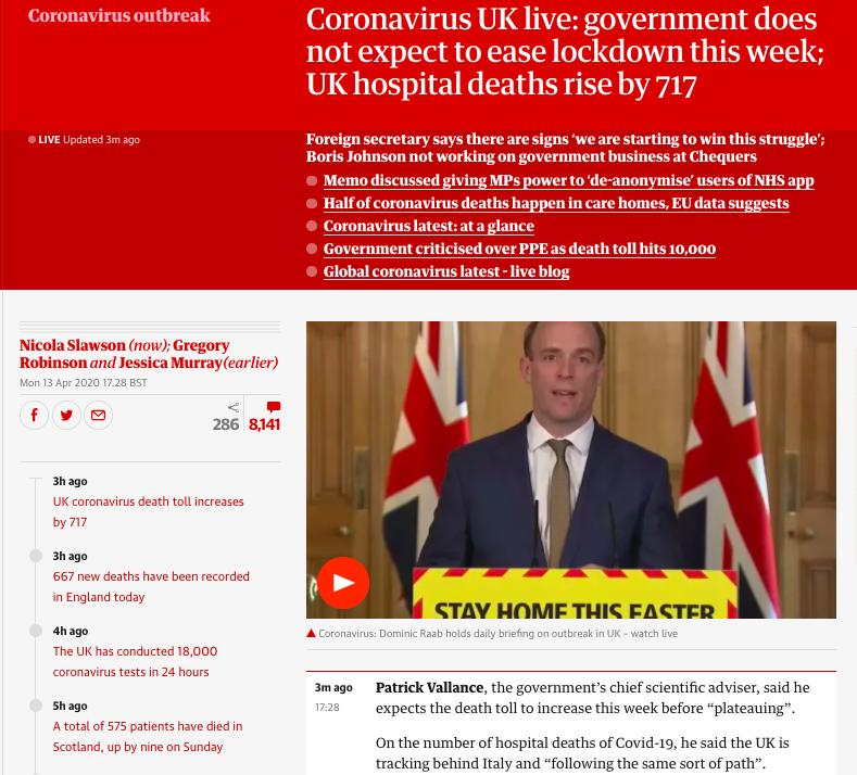 Coronavirus UK Live