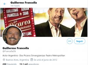 Captura Twitter G. Francella. Ejemplo de usuario mirón.