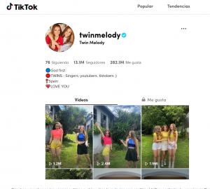 Ejemplo de usuario activo. Captura de TikTok.