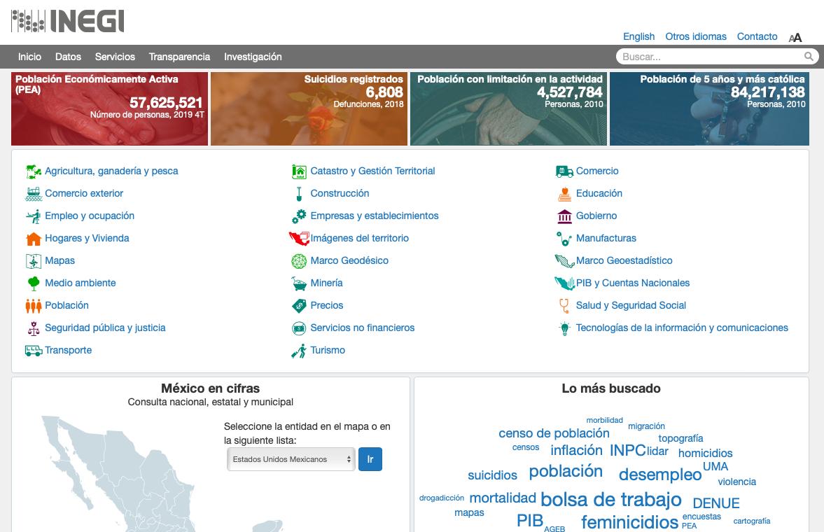 Página de acceso al Instituto Nacional de Estadística y Geografía y Fiscalías estatales de México.