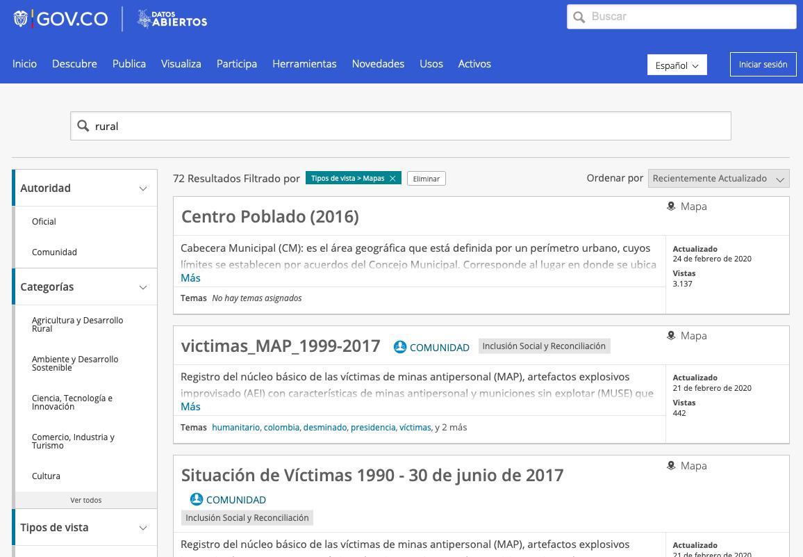 Vista del buscador de la página de datos abiertos del gobierno de Colombia. No puede accederse a las categorías si no se incrusta en el buscador un término específico.