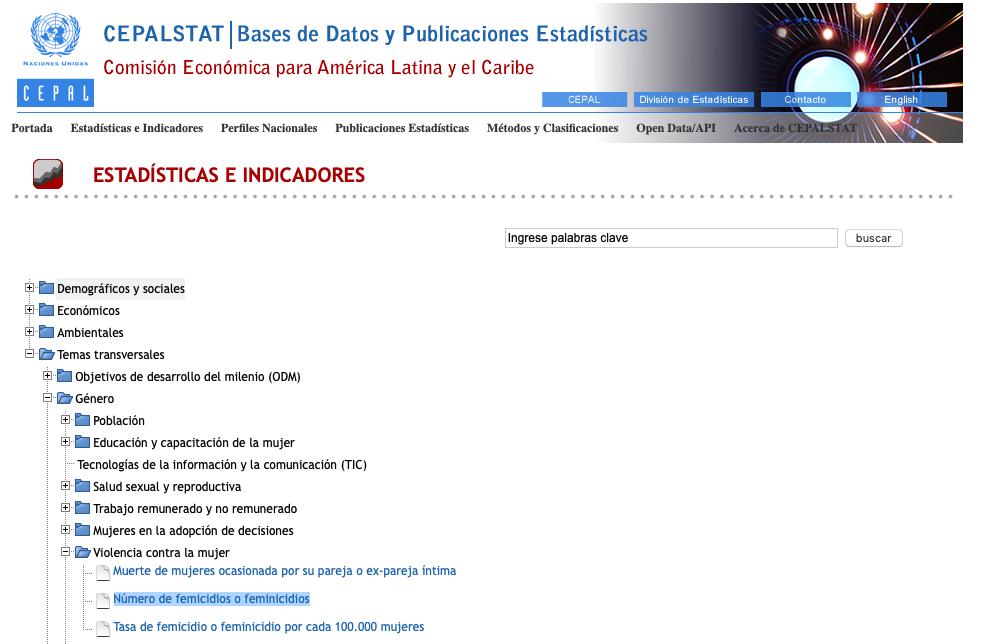 Con formato de esquema de árbol, el portal estadístico de la Comisión Económica para América Latina (CEPALSTAT) muestra la búsqueda esperada.