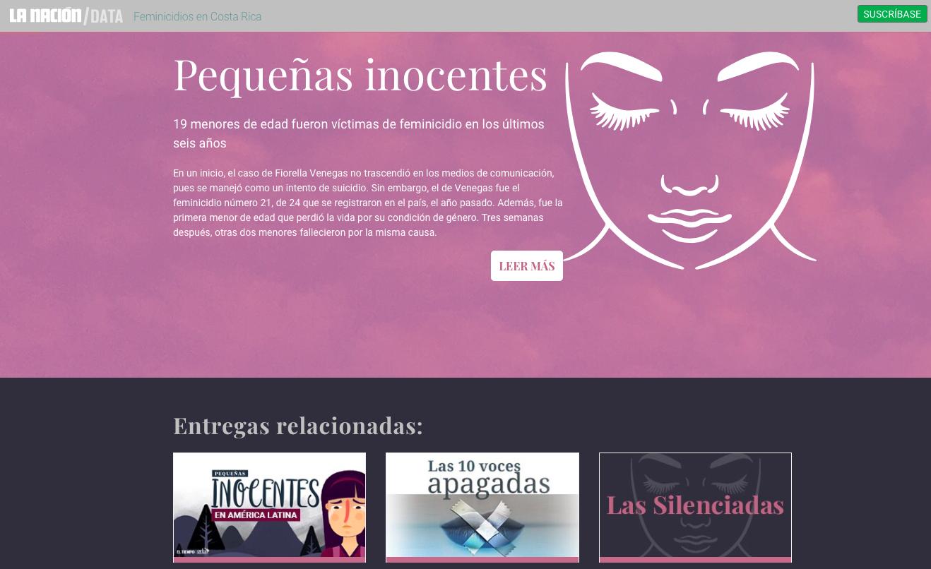 Vista de la sección sobre feminicidios del diario La Nación de Costa Rica