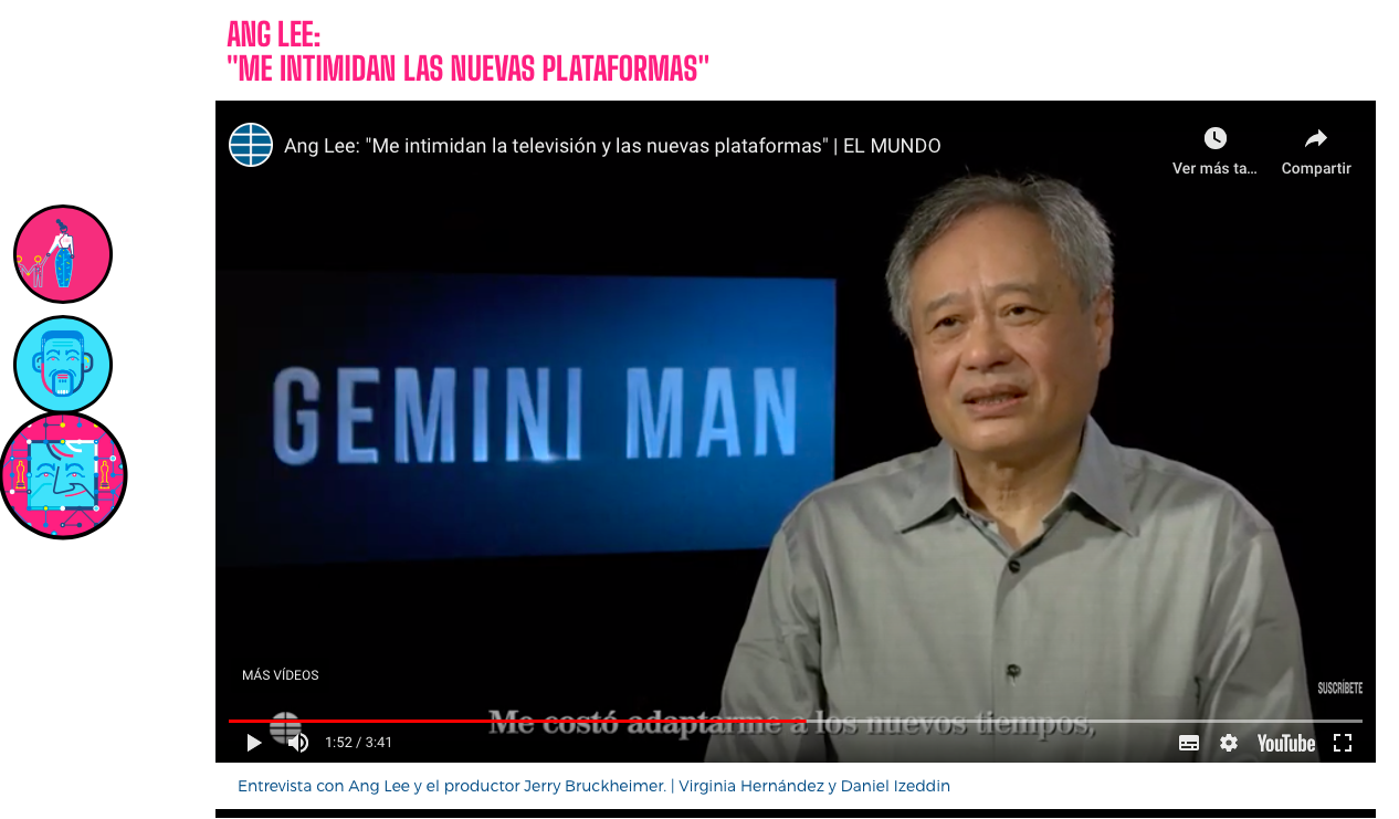 Un vídeo incrustado de YouTube muestra una entrevista al director Ang Lee.