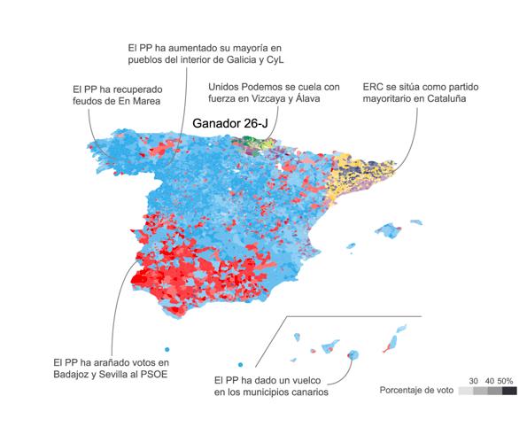 Mapa de España que refleja el resultado electoral de 2016. Se observan las indicaciones que amplían la información visual. / El Confidencial