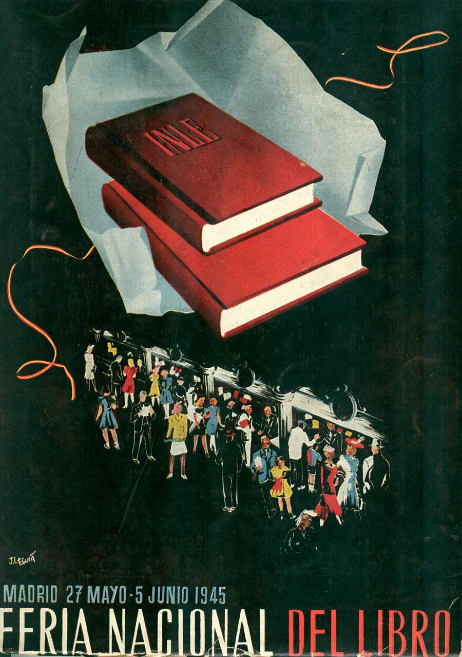 Primer cartel de la Feria del Libro en Madrid. 1945