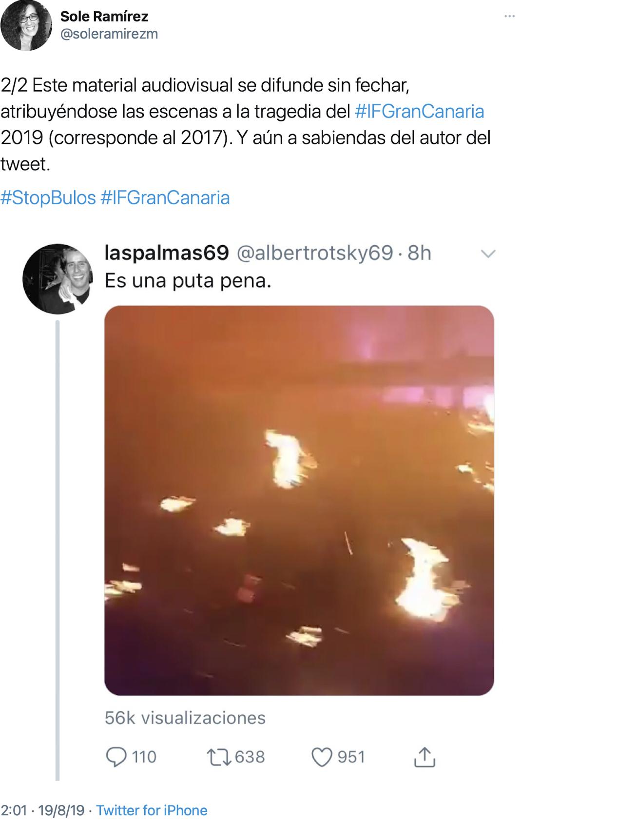Captura de hilo de denuncia personal en Twitter, detallando datos sobre la difusión de un video del 2017 durante los incendios del 2019 en Gran Canaria (España) | @soleramirezm, https://bit.ly/3ayNhjL