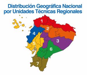Mapa de Ecuador y la división que hace la AME por Unidades Técnicas.